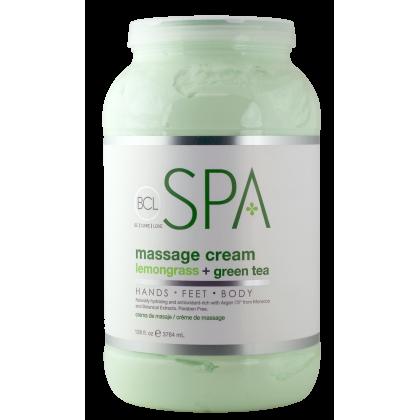 BCL SPA Massage Cream Lemongrass + Green Tea 128oz